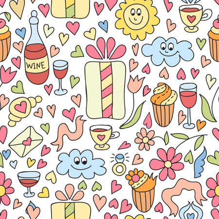 Happy birthday vector seamless pattern. Vector