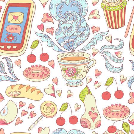 date fruit: Tea love vector seamless pattern.