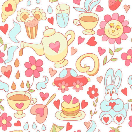 birthday tea: Tea and sweets seamless pattern.