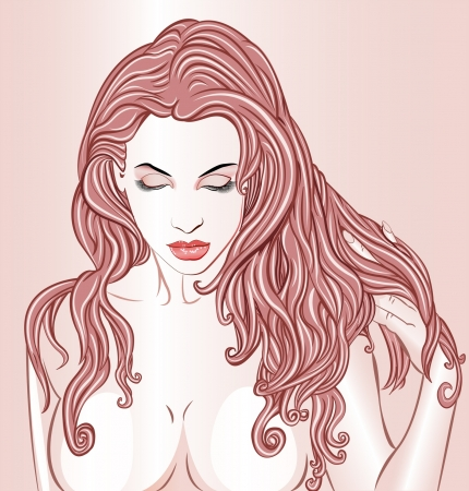 Beautiful woman relaxing or daydreaming Vector
