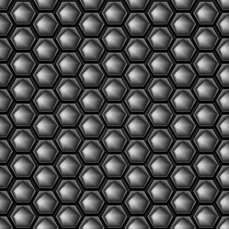 fib: Hex�gono de metal de fondo sin fisuras con el reflejo de la luz Vectores