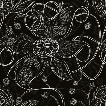 Seamless abstract background with flowers Vector