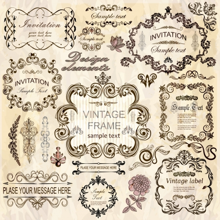 lace pattern: set  calligraphic design elements and floral frames  All objects are grouped separately