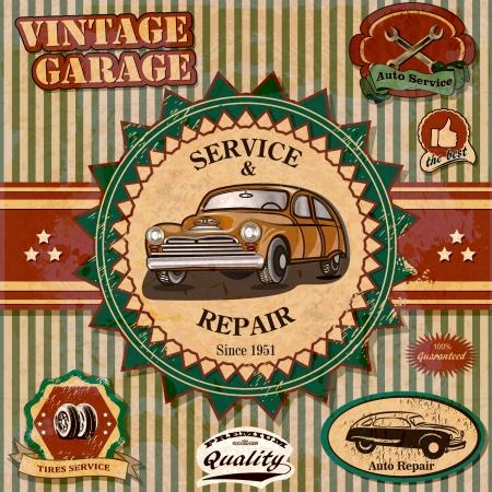mecanico automotriz: Conjunto de etiquetas de la vendimia coche retro