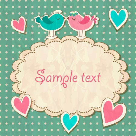 art deco background: Scrap vintage template with hearts and birds Illustration