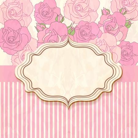 Retro floral frame  illustration  Vector