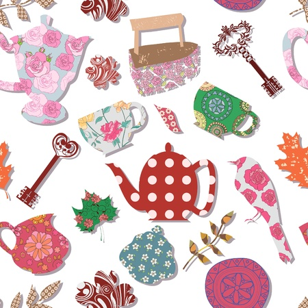 Retro seamless pattern with household items  Vector