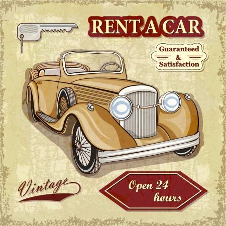 rent car: Car rentals retro poster
