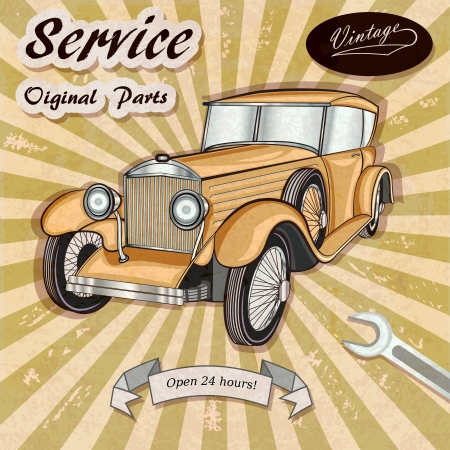 automotive repair: Auto service retro poster