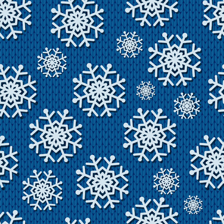 knitted background: Seamless blue knitted background with paper snowflakes.