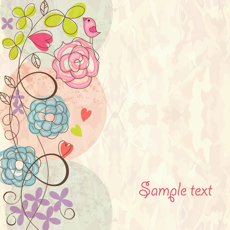 pink swirl: Romantic floral background Illustration