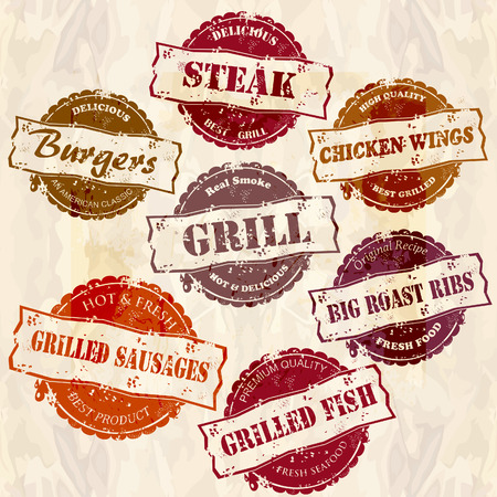 spare ribs: set of of retro grunge grill stamps
