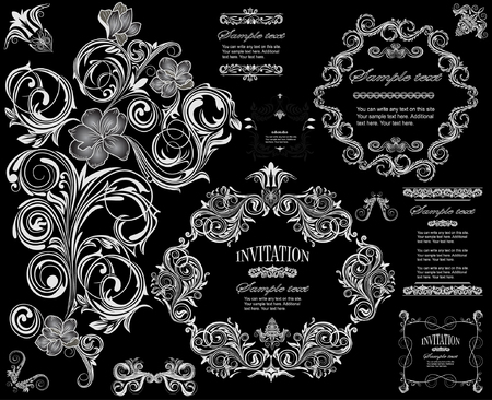 flower banner: vector set: calligraphic design elements and floral frames. All objects are grouped separately. Illustration