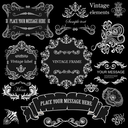 vector set: calligraphic design elements and floral frames. All objects are grouped separately. Illustration