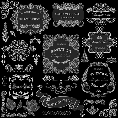 decoration design: vector set: calligraphic design elements and floral frames. All objects are grouped separately. Illustration