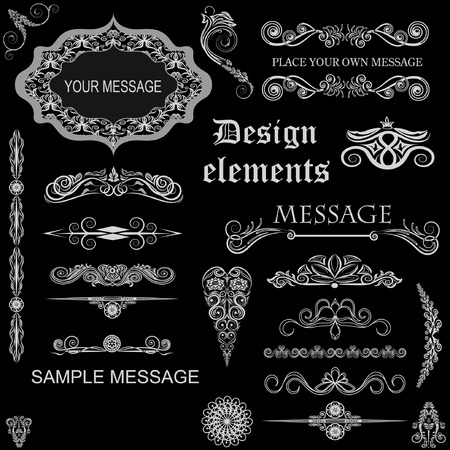 label tag: vector set: calligraphic design elements and floral frames. All objects are grouped separately. Illustration