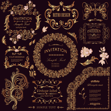 vector set: calligraphic design elements and floral frames. All objects are grouped separately. Ilustração