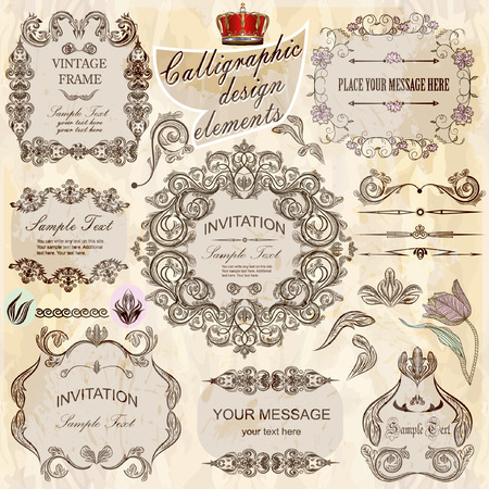 separately: vector set: calligraphic design elements and floral frames. All objects are grouped separately. Illustration