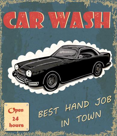 Car wash retro poster. Иллюстрация