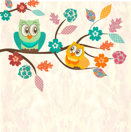 owl illustration: Cute background with owls sitting on branches Illustration