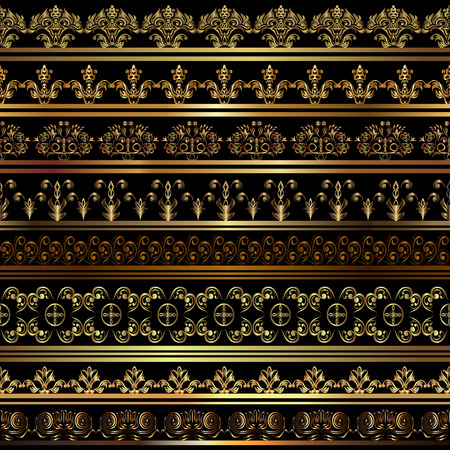 gold ornaments: Set of vintage borders.