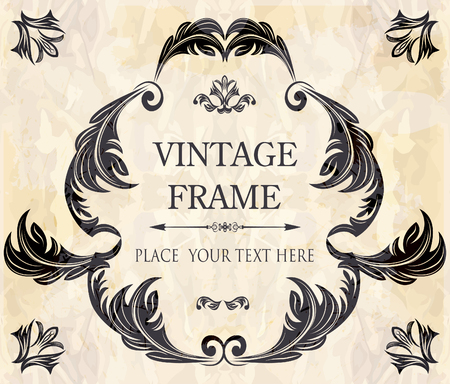 art deco background: Elegant vintage frame with floral pattern Illustration