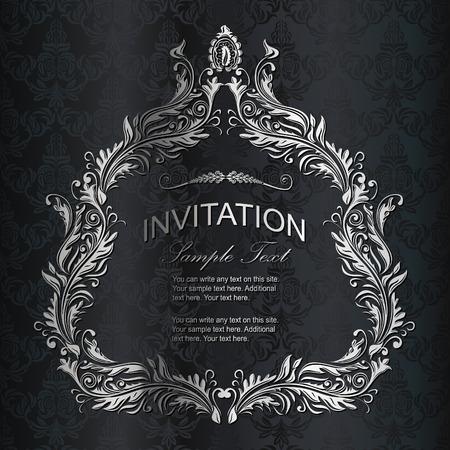funeral: Elegant vintage frame with floral pattern Illustration