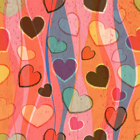 wedding  art: Seamless abstract pattern with hearts Illustration