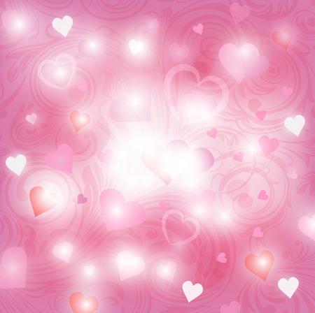shiny hearts: Valentines day shiny background with hearts Illustration