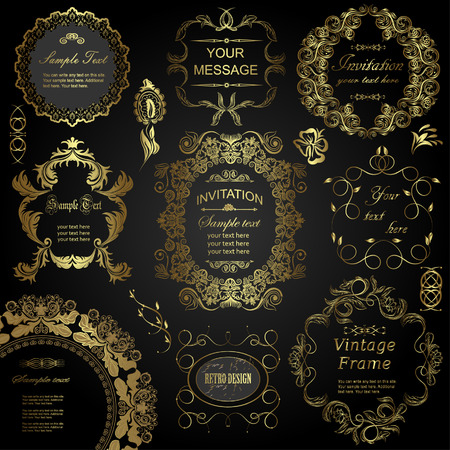 gold swirls: vector set: calligraphic design elements and floral frames. All objects are grouped separately. Illustration