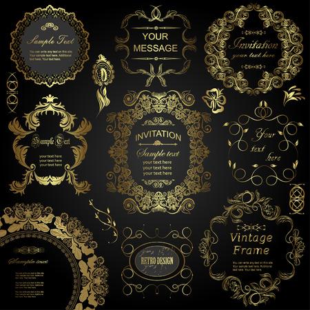 cổ điển: vector thiết lập: các yếu tố thiết kế chữ và khung hoa. Tất cả các đối tượng được nhóm riêng biệt.