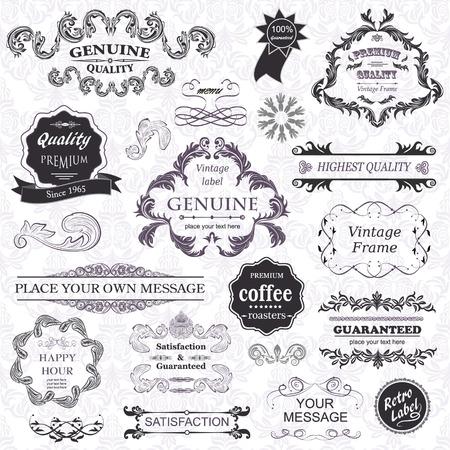 vector set: éléments de conception calligraphiques et cadres floraux. Tous les objets sont regroupés séparément.