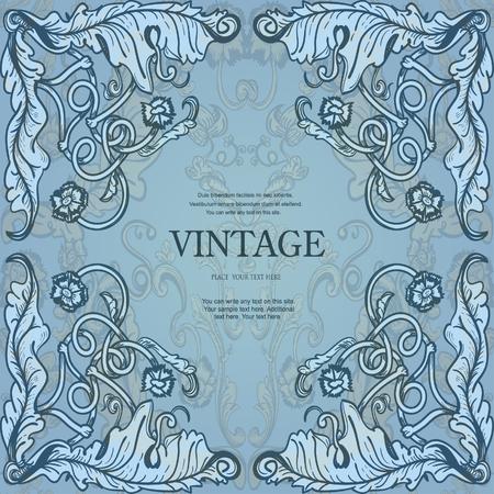 vintage floral frame: Vintage frame with floral ornament