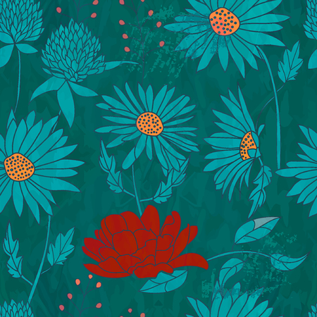 Seamless floral pattern on grunge background