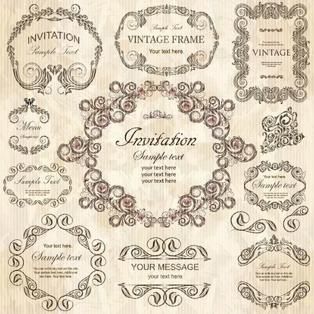 Vector set: elementi di design calligrafica e cornici floreali. Tutti gli oggetti sono raggruppati separatamente.