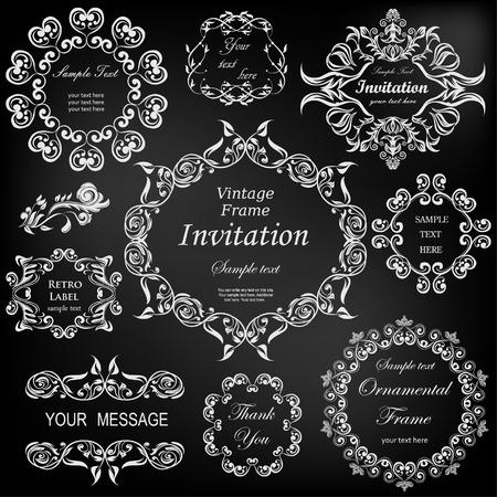 Conjunto de vectores: elementos de diseño caligráfico y marcos florales. Todos los objetos se agrupan por separado. Foto de archivo - 54895798