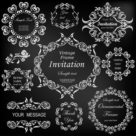 black: vector set: calligraphic design elements and floral frames. All objects are grouped separately. Illustration