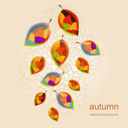 painted the cover illustration: abstract background with autumn leaves Illustration