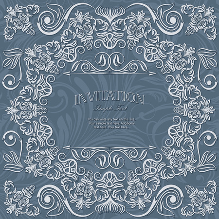 baroque frame: Invitation card lace on seamless damask pattern