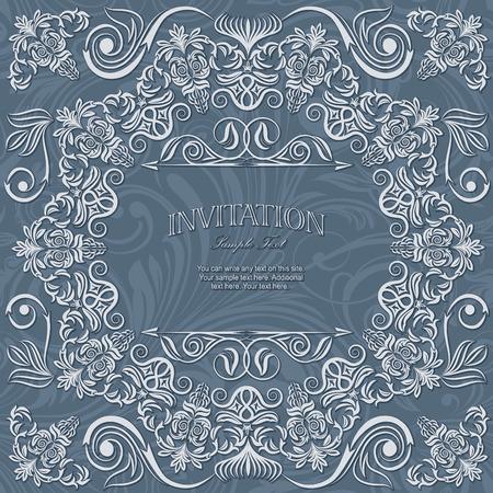 Invitation card lace on seamless damask pattern