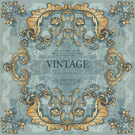victorian wallpaper: Vintage frame with floral ornament