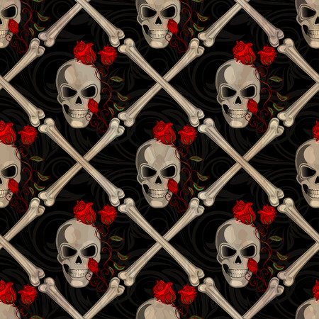 roger: Skull Jolly Roger abstract seamless pattern