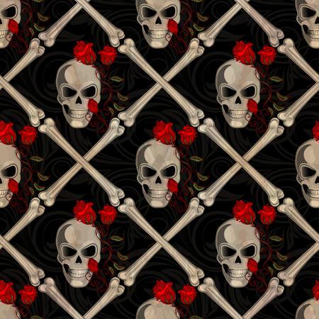 Skull Jolly Roger abstract seamless pattern