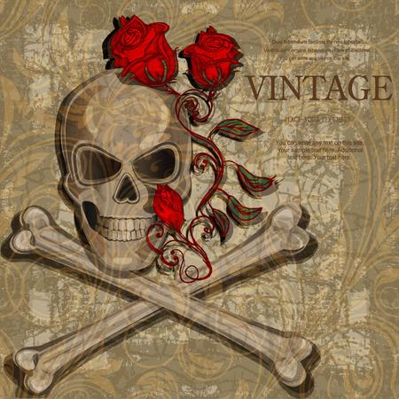 roger: Jolly Roger vintage background Illustration