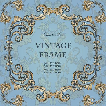 keywords backdrop: Vintage frame with floral ornament