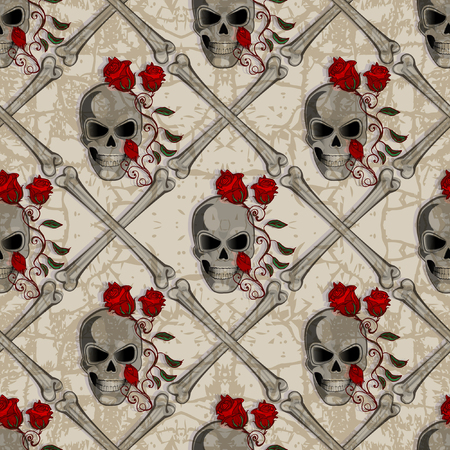 Skull Jolly Roger abstract seamless pattern Reklamní fotografie - 60667808