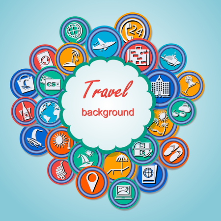 air liner: Travel background with colourful tourism icons