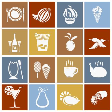 Ensemble de l'icône de la nourriture dans le style rétro.