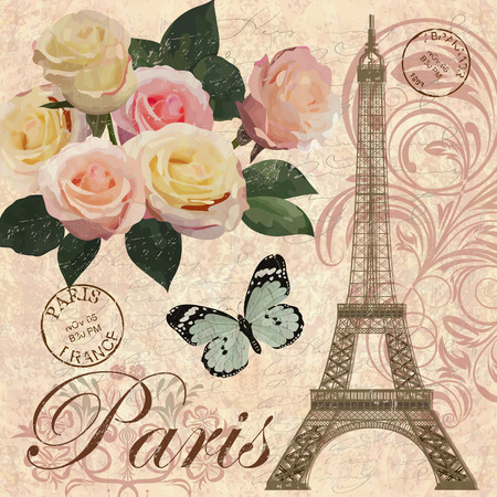 postcard: Paris vintage postcard.