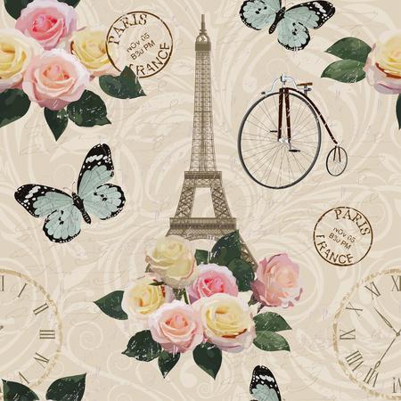 Seamless Paris travel wallpaper.Vintage background.